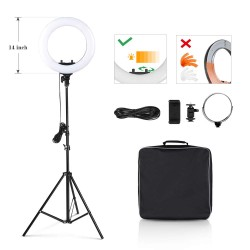 Black Ring Light with battery and wireless remote 36 cm 40 W