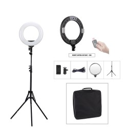 Black Ring Light with battery and wireless remote 46 cm 60 W