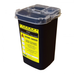 Plastic container waste bin / for medical waste black 1000ml