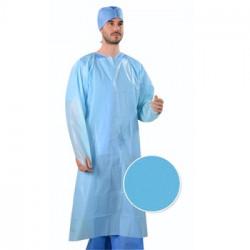 Vienkartinis polietileninis chalatas, mėlynas