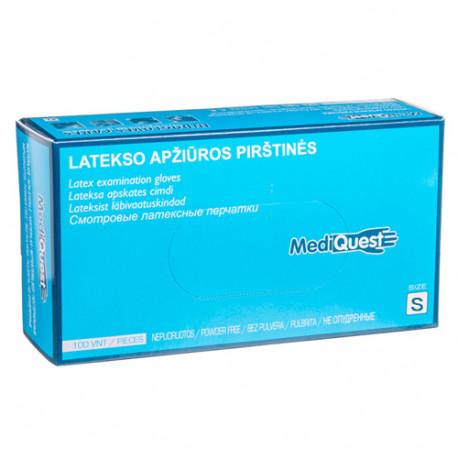MediQuest lateksinės pirštinės be pudros S (100vnt)