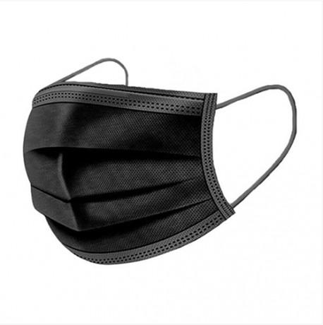 Lumed 3 Ply Disposable Face Mask, Black (50 pcs.)